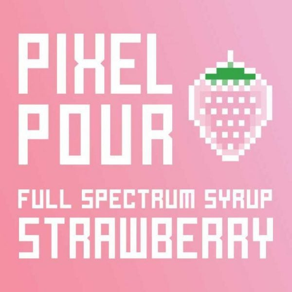 PhytoFamily Pixel Pour Full Spectrum CBD Syrup Strawberry, pourable hemp syrup