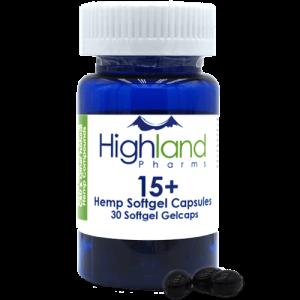 Highland Pharms 15+ Hemp Softgel Capsules 15mg, 30ct